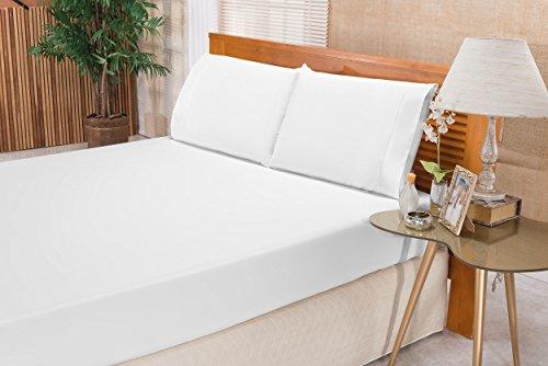 Jogo Lençol Elegance Bia Enxovais Branco Casal Tecido