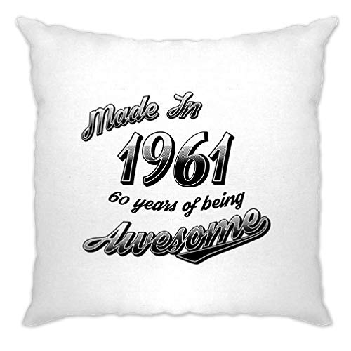 Tim And Ted 60th Birthday Cushion Cover Made in 1961 60 Years Of Awesome Retro Gift Idea - (White/One Size)