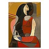 YANGMENGDAN Druck auf Leinwand Sitzende Frau Leinwand Gemälde Reproduktionen Weltberühmte Kunstdrucke Picasso Abstrakte Wandbilder Home Wall Decor 50x70 cm x 1 stücke Kein Rahmen