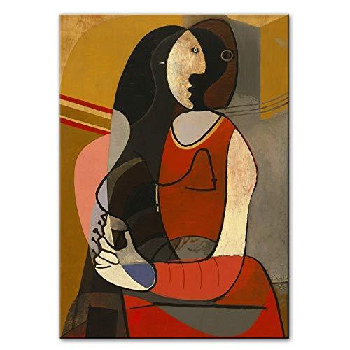 YANGMENGDAN Druck auf Leinwand Sitzende Frau Leinwand Gemälde Reproduktionen Weltberühmte Kunstdrucke Picasso Abstrakte Wandbilder Home Wall Decor 40x60 cm x 1 stücke Kein Rahmen