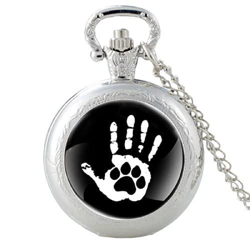 Reloj de bolsillo con diseño clásico de palma y perro con diseño de huella de plata y cuarzo para...