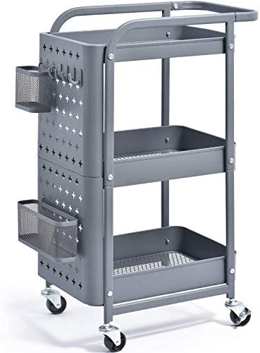 KINGRACK 3 Tier Storage Rolling Cart Metal Push Cart with DIY Pegboard Trolley Organizer with product image