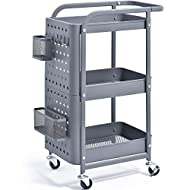 KINGRACK 3-Tier Storage Rolling Cart, Metal Push Cart with DIY Pegboard, Trolley Organizer with Utility Handle and Extra Baskets Hooks for Kitchen Office Home, Grey