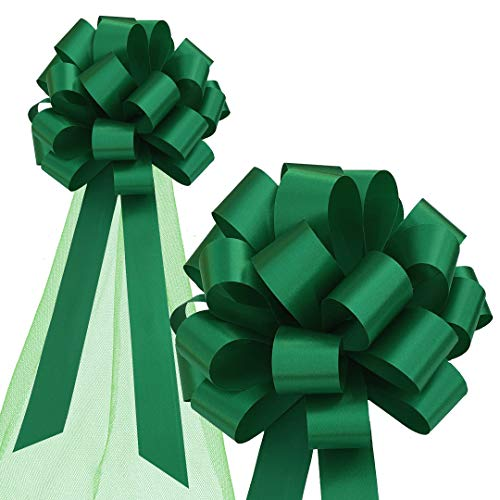 """Emerald Green Wedding Pull Bows with Tulle Tails - 8"""" Wide, Set of 6"""