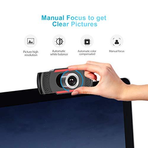Webcam mit Mikrofon, HD 1080P Webcam mit Dual Mikrofon, PC-kamera mit Automatischer Lichtkorrektur, Plug und Play, für Videochat und Aufnahme, Konferenz, Spiele, kompatibel mit Windows/ Mac/ Linux