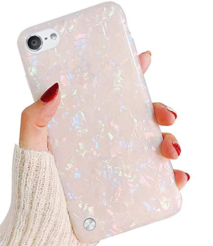 J.west iPod Touch 7th Generation Case, iPod Touch 6th 5th Case, Cute Glitter Pretty Pearly-Lustre Slim Soft Bumper TPU Silicone Shockproof Protective Case Cover for Girls Women (Colorful)