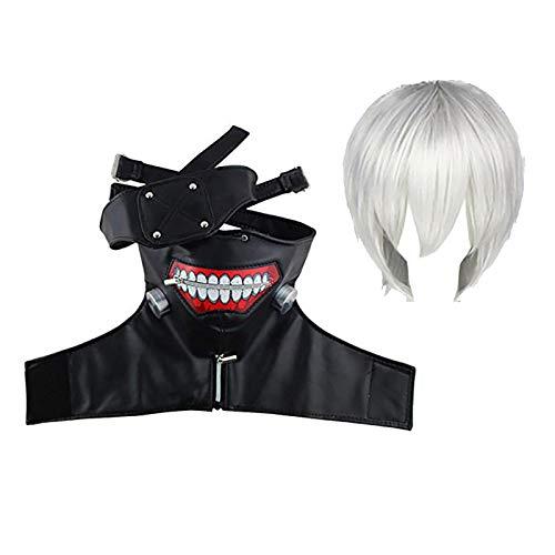 AUkaiqu12 Okyo Ghoul Kaneki Ken Mscara de Cosplay Kaneki Ken Peluca Mscara de Fiesta Fresca Disfraz de Halloween Decoraciones de Fiesta Accesorios para Hombres y Mujeres