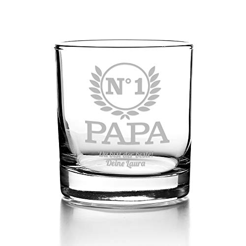 CADEAUX.COM Personalisierbares Whiskyglas - Papa Nr. 1 - Whiskey Tumbler Glas mit Gravur - Gravur Name und Botschaft