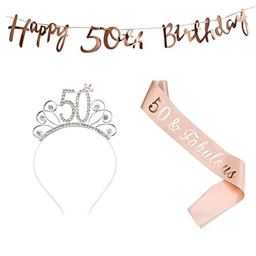 50 Compleanno Fascia Oro Rosa 50 Anni di Compleanno Donna Tiara Birthday Corona per Compleanno 50 Coroncina di Compleanno Happy Birthday Banner Decorazioni Accessori per Compleanno Ragazza