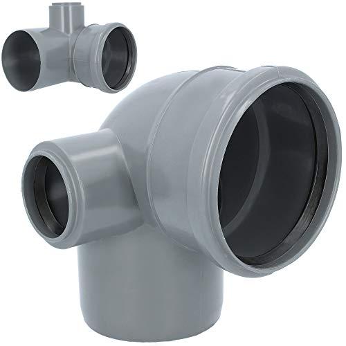 HT Rohr Abzweig Bogen LINKS 90° DN 110 mm x 50 mm Grau   Abwasser Winkel Kunststoff Abflussrohr Kunststoffbogen PVC PP Doppelabzweig Verbindung Anschlussstück