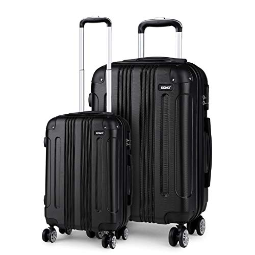 Kono Lightweight Luggage Set of 2 Hard Shell 4 Wheel Travel 56cm Cabin Plus 75cm Large Check in Suitcase (Black Set)