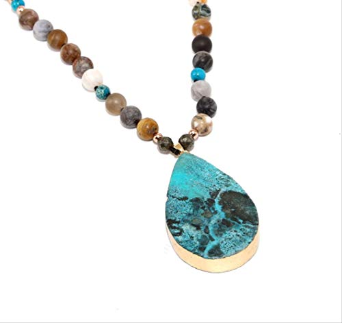 Ocean Necklace Natural Stone Pendant Wrap Braid Necklace Yoga Macrame Necklace For Men Women Energy Necklace