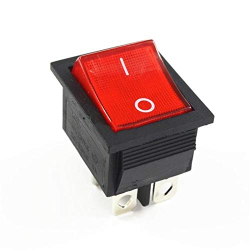 HGLNBN Interruptor basculante 10 PC de Enganche del Eje de balancín Interruptor de Encendido del conmutador de E/S 4 Pins con luz 16A 250VAC 20A 125VAC KCD4 (Color : Red)
