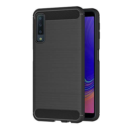 AICEK Coque Samsung Galaxy A7 2018, Noir Silicone Coque pour Samsung A7 2018 Housse Fibre de Carbone Etui Case (A750 6,0 Pouces)