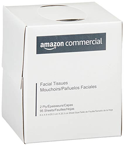 AmazonCommercial Facial Tissue Cube Box, 95 Sheets per Box, 36 Boxes