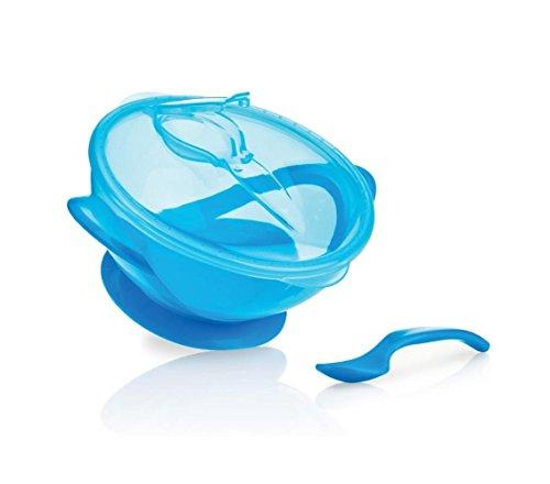 Nûby ID5419BLUE Breischale mit Saugfuß und Löffel, blau