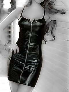 Lingerie Underwear Patent Leather Zipper Dress(M)
