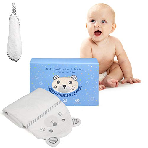 LEADSTAR Toalla Bebé con Capucha, Capa de Baño Infantil, 90 x 90 cm Toalla de Baño para Bebé, Ultra Suave Hipoalergénica de Bambú Orgánico Super Absorbente para Recién Nacido Nacimiento