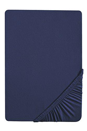 biberna 0077144 Feinjersey Spannbetttuch (Matratzenhöhe max. 22 cm) (Baumwolle) 90x190 cm -> 100x200 cm, marine
