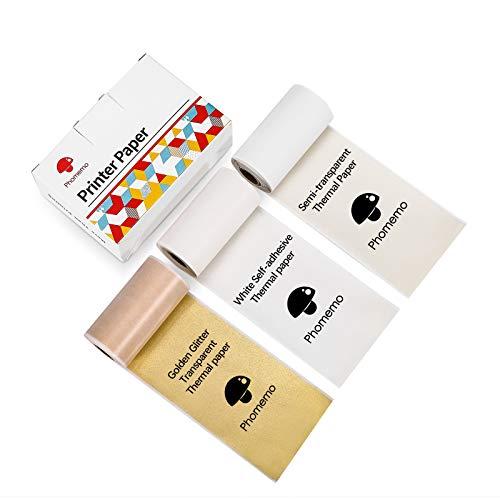 Phomemo Selbstklebendes Thermo-aufkleber Papier, Weiß / Halbtransparent / Gold Glitter Transparent, für Phomemo M02 / M02 Pro / M02s / M03 Bluetooth-thermodrucker