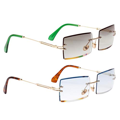 SM SunniMix 2X Gafas de Sol de Moda Retro Clásico Lente Polarizada Gafas Anti UV Verde + Azul