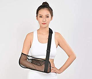 Cool Mesh Arm Sling Medical Shoulder Immobilizer Rotator Cuff Wrist Elbow Forearm Support Brace Strap Lightweight Breathable Simple Black for Broken&Fractured Arm (M)