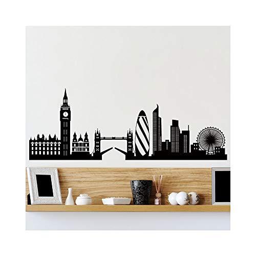 stickers muraux miroir pas cher Skyline de Londres pour salon
