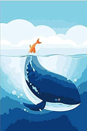 LEOGOR Kit de punto de cruz para principiantes, diseño de ballena, color azul bebé, para manualidades, punto de cruz, decoración del hogar, 40,6 x 50,8 cm (lienzo preimpreso de 11 quilates)