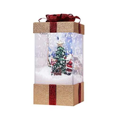 Hjgyugyutuy Luz Decoraciones al Aire Libre, Adornos para árboles de Navidad, 8 Bombillas LED, Luz de Regalo de música de Nieve, Adornos de Fiesta de Interior, Arte casero