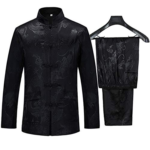 Tang Suit Men Hanfu Chinese Traditional Clothes Kung Fu Shirt Uniform Long Sleeved Coat Tops and Pants (Black, US L (Asia Size XXL))