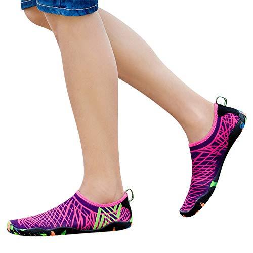 Zapatillas Deportivos Zapatos De Agua Para Buceo Snorkel Surf Piscina Playa Vela Mar Cycling Acuáticos Calzado De Natación Escarpines Sneaker De Yoga Para Hombre Mujer (Rosa Caliente, 45)