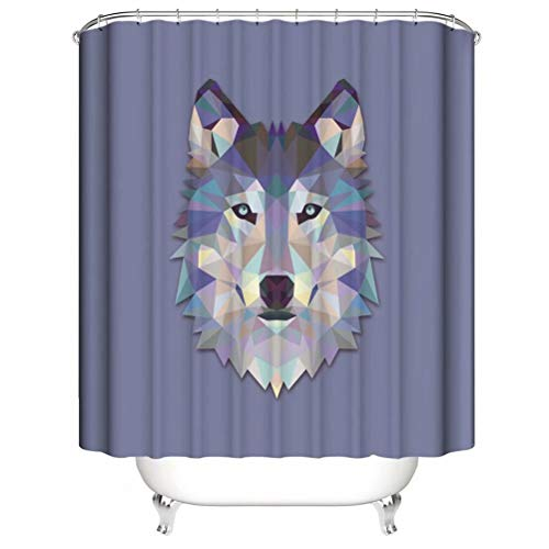 Crystal Carving. Wolf. Shower Curtain. Bathroom Accessories. Waterproof. Contains 12 Hooks. Shower Curtain Rod Ring Hook. Background. Party. Living Room.
