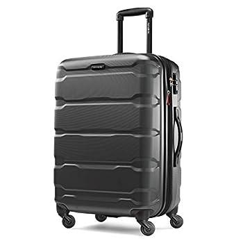 Samsonite Omni PC Hardside Expandable Luggage with Spinner Wheels Black Checked-Medium 24-Inch