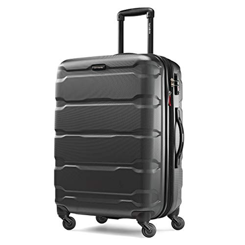 Samsonite Omni PC Hardside Expandable Luggage with Spinner Wheels, Black, Checked-Medium 24-Inch