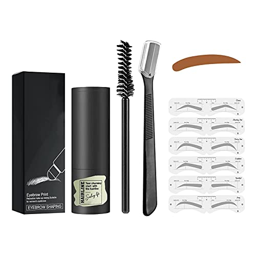 One Step Brow Stamp Shaping Kit,Eyebrow Stamp Waterproof, Brow Stamp Shaping Kit Eyebrow Definer,Reusable Styling Tool, 3 Minutes Makeup (Medium Brown)