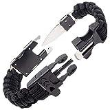 Steinbock7 Survival Armband Herren Accessoires – komplettes Outdoor Survival Kit: Survival Messer, Paracord