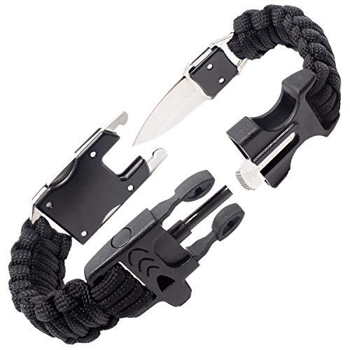 Steinbock7 Survival Armband Herren Accessoires – komplettes Outdoor Survival Kit: Survival Messer, Paracord Armband, Feuerstahl, Pfeife, Armband Verschluss auf 2 Seiten, Knüpfanleitung, Schwarz