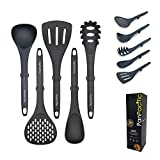 Large Kitchen Utensils for cooking, PanPacific Cooking Utensils Set with Weighted Handle, Non-Stick and Heat Resistant Kitchen Gadgets, Soft Grip Kitchen Tools Sets for Apartment, Dark Grey