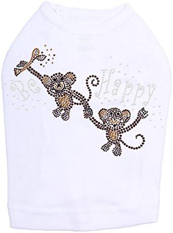 Monkeys - Be Happy Shirt Bargain sale Dog White Max 70% OFF 4XL