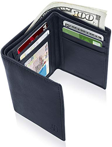 Leather Trifold Mens Wallet RFID - Navy Blue Leather Wallets For Men With ID Window Front Pocket Wallet Fathers Day Gifts For Men