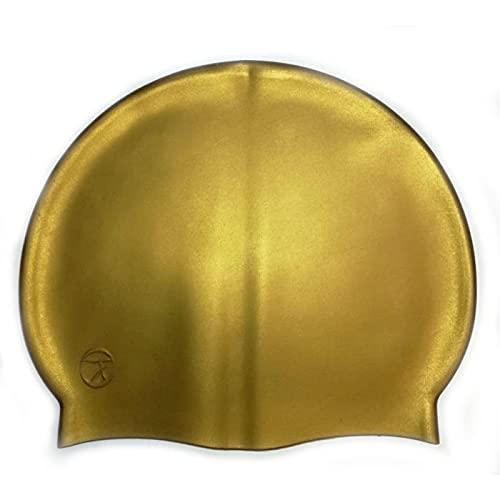 SWIMXWIN Gorro de silicona monocolor para natación o piscina, talla única, sujeción estable (dorado)