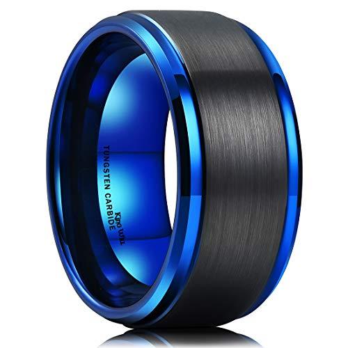 King Will Classic 6mm Azul facetas de Diamante Pulido, Curvada, Comodidad Ajuste Anillo de Bodas Banda de carburo de tungsteno