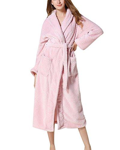 Mujer Hombre Pijamas de Kimono Albornoz Largo Microfibra Pareja Túnica Bata Ropa Pink M