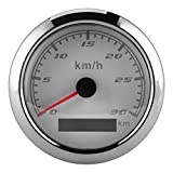 Velocímetro multifunción-Velocímetro GPS de 85 mm / 3,3 pulgadas, odómetro de 0-30 km / h, instrumento IP67 para barco, coche, yate, motocicleta(blanco)