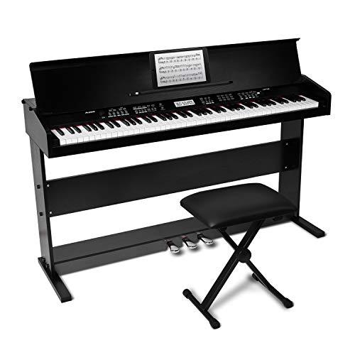 Alesis 88鍵盤 初心者向け 電子ピアノ ライトタッチ鍵盤 【3本ペダル/ /椅子/鍵盤カバー/譜面立て付き】ブラック 無料オンラインレッスン付属で自宅からレッスンが受講可能 AHP-1B