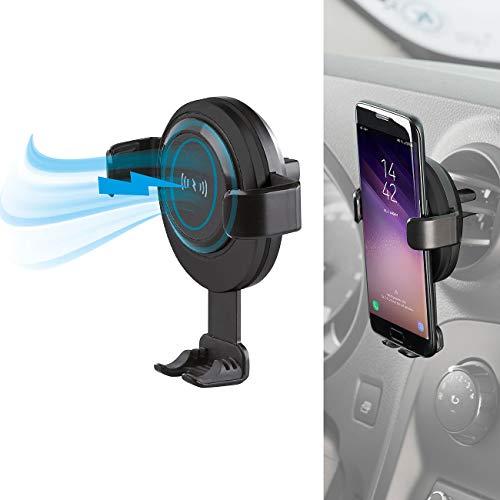Callstel Vehículo Soporte para Smartphone: Kfz-Smartphone-Ladehalter für Lüftungsgitter, Compatible con Qi, 2 A, 10 W (Inalámbrico Cargador automóvil)