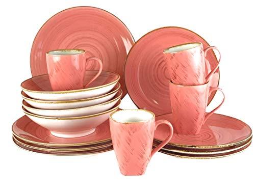 Blanca's Feel Vajilla Completa Moderna Porcelana color rosa de (16 piezas) para 4 personas, Platos Llano, Platos de Postre, Bowls Platos Hondo, Mug taza