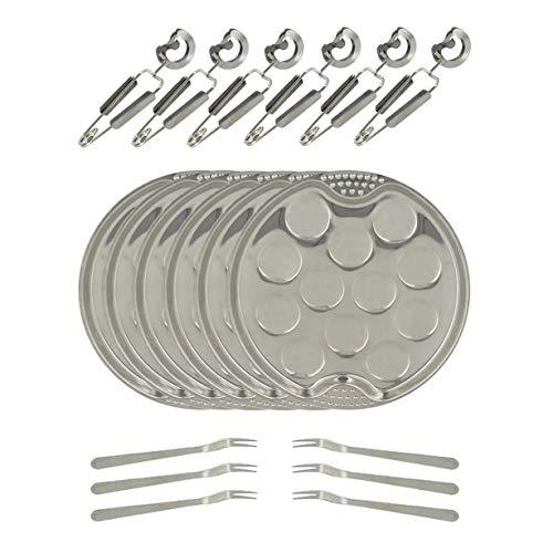 TheKitchenette The Kitchenette 5040063 18-delige serveerset - 6 platen met 12 diameters - 19 cm + 6 tang en 6 slakkenvorken