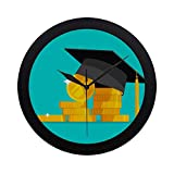 WYYWCY Monedas de Efectivo Simple Moderno de Monedas de Oro Reloj de Pared Movimiento de Barrido Interior Pared Clcok para Oficina, baño, Sala de Estar Decorativo 9,65 Pulgadas