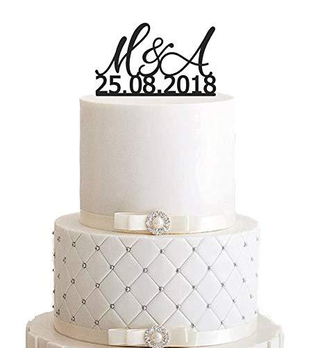 Cake Topper, taartsteker, taartfiguur acryl, taartstaander - kleurkeuze - gewenste naam - initialen, taartstekers, individueel - Taartfiguur acryl, taartstandaard, etagère bruiloft bruidstaart